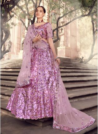 Fetching Lilac Purple Color Soft Net Lehenga With Matching Blouse