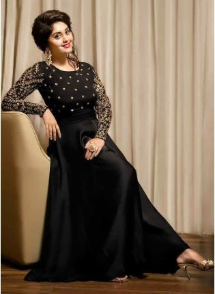 Admirable Black Taffeta Silk Party Wear Embroidered Designer Gown
