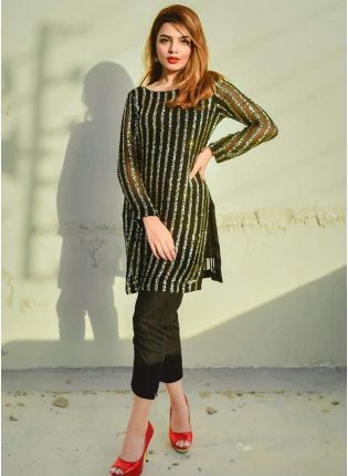Adorable And Stylish Black Georgette Pant Style Suit With Sequin Work