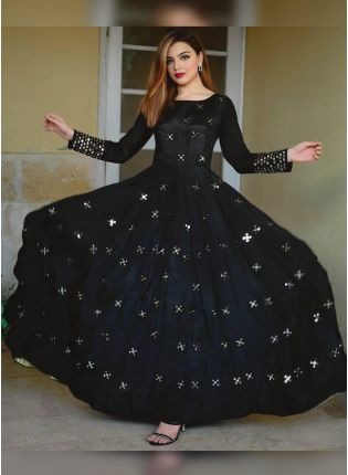 Adorable Black Georgette Base Zari Work Festive Wear Gown