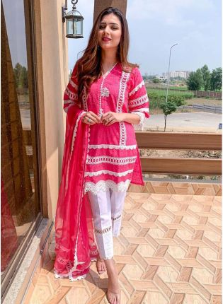 Spectacular Hot Pink Cotton Silk Designer Ethnic Pant Style Salwar Suit