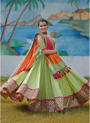 Green Digital Print Mirror Work Crepe Flared Lehenga Choli