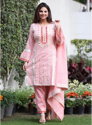Stunning Baby Pink Silk Base Gota Work Pant Style Suit