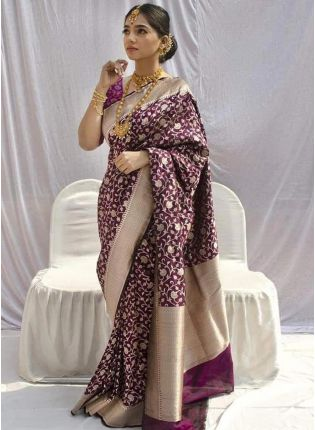 Regal Purple Silk Waving Silk Festive Saree
