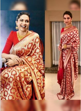 Crimson Banarasi Silk Saree for Festivals