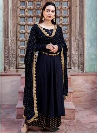 Onyx Black Rayon with Stone Work Palazzo Suit