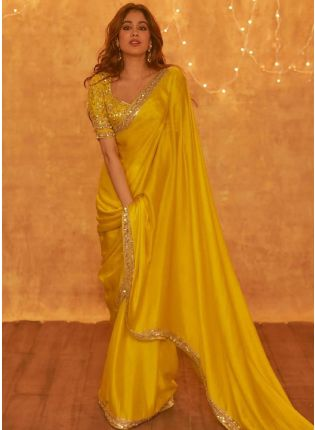Hot Yellow Embroidered Saree With Sequins Details