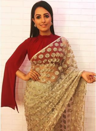 Remarkable Beige Color Soft Net Base Saree for all Occasion