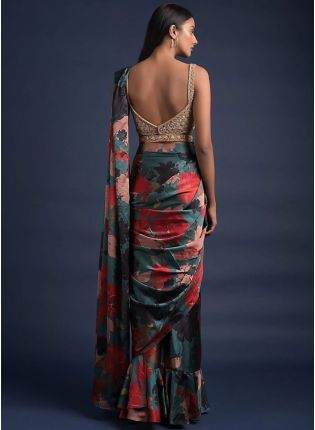 Impressive Multi-Color Printed Saree with Embroidered Blouse