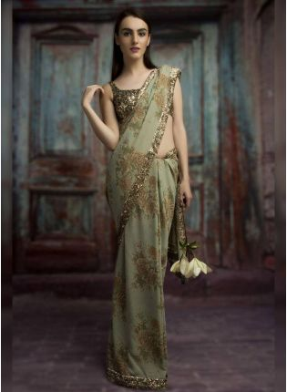 Fancy Party Wear Printed Saree with Sequins Lace Work