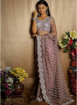Elegant Purple Color Soft Net Saree