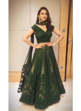 Striking Green Resham Printed Soft Net Lehenga Choli Set