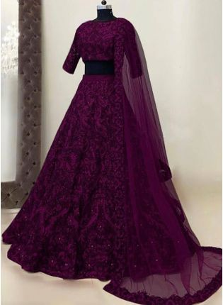 Adorable Wine Georgette Base Mirror Work Ethnic Lehenga Choli
