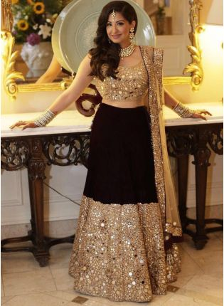 Unbeatable Black Taffeta Silk Base Mirror And Zari Work Lehenga Choli