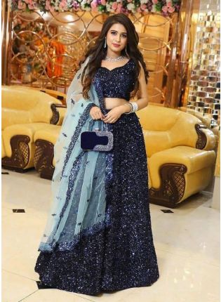 Elegant Navy Blue Sequined Velvet Lehenga Choli Set