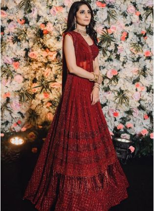 Glitzy Look Maroon Color Sequins Base Bollywood Lehenga Choli
