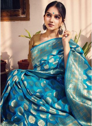 Graceful Torquise Blue Silk Weave Wedding Saree
