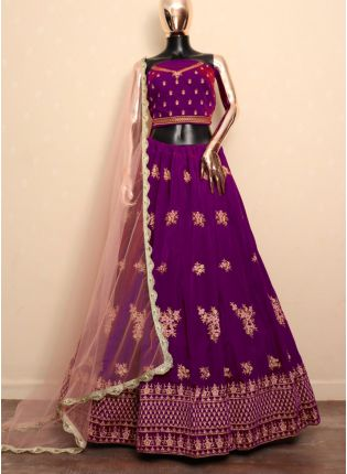 Purple Zari Resham And Velvet Bridal Lehenga Choli