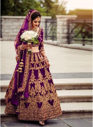 Glamorous Wine Color Velvet Base Embroidery Work Lehenga With Matching Blouse