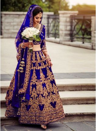 Glamorous Blue Color Velvet Base Embroidery Work Lehenga With Matching Blouse