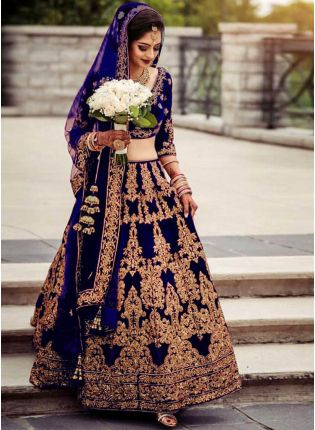 Glamorous Navy Blue Color Velvet Base Embroidery Work Lehenga With Matching Blouse