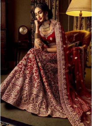 Adorable Maroon Velvet Base Designer Bridal Lehenga Choli
