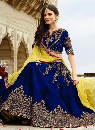 Modish Royal Blue Velvet Base Embroidered Lehenga Choli