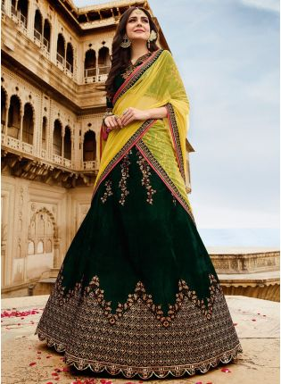 Unbeatable Dark Green Velvet Base Zari Work Lehenga Choli
