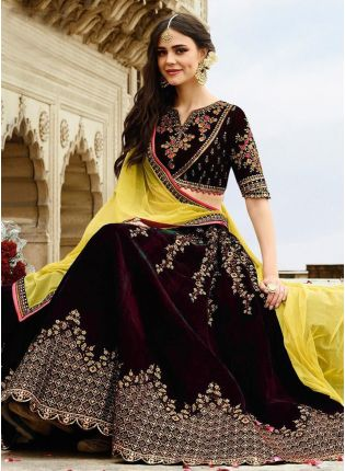 Fantastic Dark Maroon Velvet Base Zari Work Lehenga Choli
