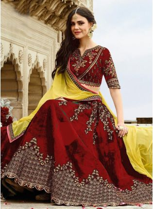 Mesmerizing Ruby Red Velvet Base Embroidered Lehenga Choli