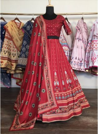Majestic Deep Red Silk Base Digital Printed Lehenga Choli