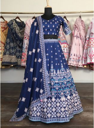 Impressive Navy Blue Silk Base Digital Printed Lehenga Choli