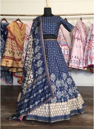 Elegant Navy Blue Silk Base Digital Printed Lehenga Choli