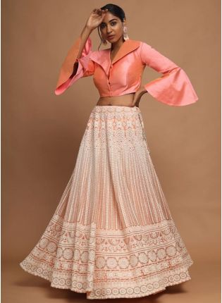 Peach Resham And Soft Net Partywear Lehenga Choli