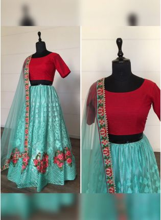 Sensational Sky Blue Soft Net Base Resham And Moti Work Lehenga Choli