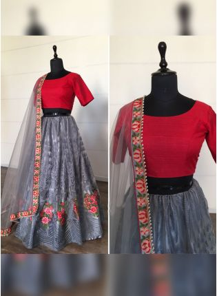 Phenomenal Cloudy Grey Soft Net Base Designer Lehenga Choli