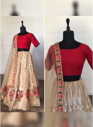 Sparkling Beige Soft Net Moti And Resham Work Lehenga Choli