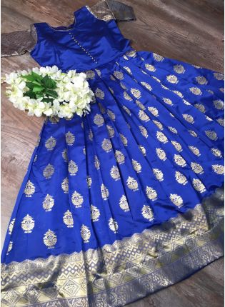 Blue Silk Waving Stylish Ceremonial Designer Gown