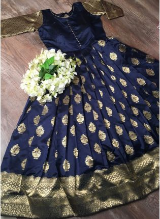 Navy Silk Waving Beautiful Designer Gown For Sangeet