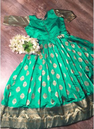 Green Designer Long-Sleeve Festive Gown Premium Collection