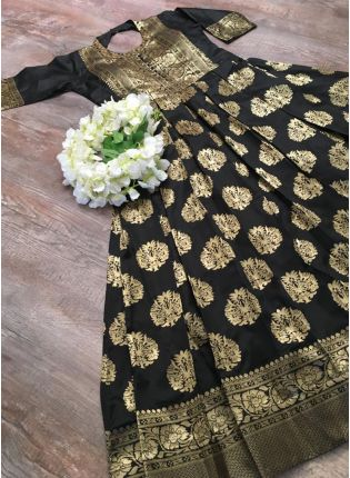Tempting Black Silk Base Festive Wear Designer Gown