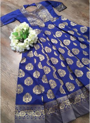 Fantastic Royal Blue Silk Base Festive Wear Designer Gown