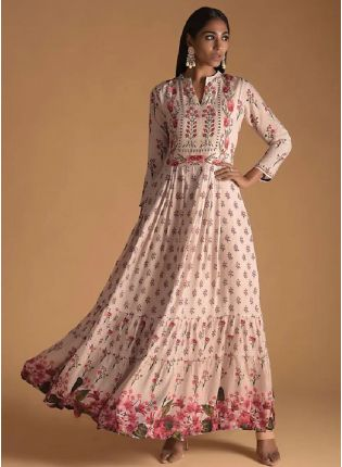 New Style Pink Color Maslin Silk Base Digital Print Designer Gown