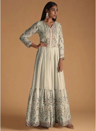 New Style White Color Maslin Silk Base Digital Print Designer Gown