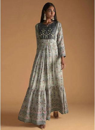 New Style Grey Color Maslin Silk Base Digital Print Designer Gown