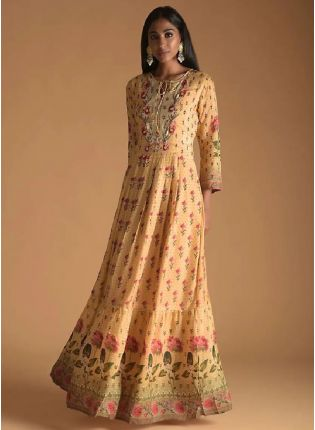 New Style Orange Color Maslin Silk Base Digital Print Designer Gown