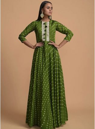 Happy Green Color Western Style Umbrella Gown