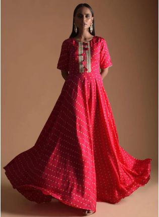 Mesmerizing Red Color Western Style Umbrella Gown