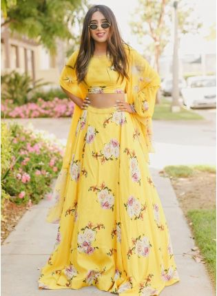 Modish Sandy Yellow Satin Base Digital Printed Designer Lehenga Choli