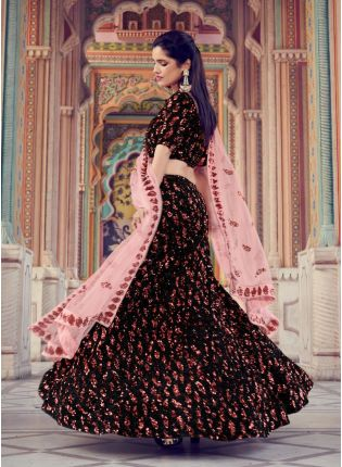 Charming Look Black Color With Soft Net Peach Dupatta Set